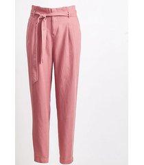 loft petite tie high waist linen cotton tapered pants
