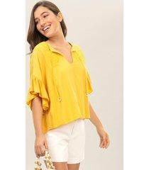 blusa babados e bordado amarelo caramelo - lez a lez
