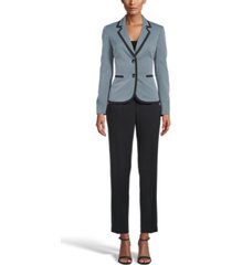 le suit contrast two-button pantsuit