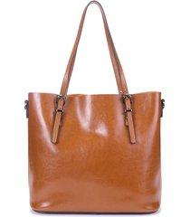 donna retro borsa a tracolla con manici a secchiello in pelle vera oleata di cera con grande capacità