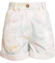 high waist tie-dye denim shorts