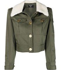 balmain structured-shoulder jacket - green