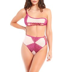 icollection women's asymmetrical 2 piece lace bra set with grommet peek-a-boo detail and high waist panty