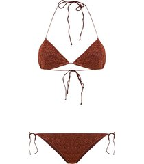 oséree lurex two-piece bikini - brown