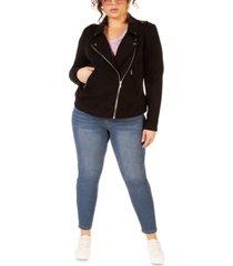 black tape plus size stretch knit moto jacket