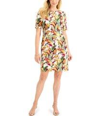 karen scott fantasy leaves printed dress, created for macy's