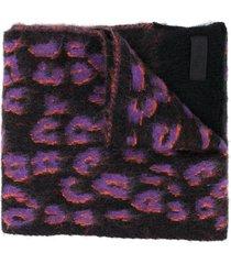 diesel leopard print scarf - black
