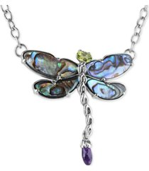 """carolyn pollack multi-stone (8-5/8 ct. t.w.) dragonfly 19"""" pendant necklace in sterling silver"""