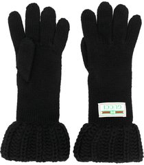 gucci chunky knit gloves - black