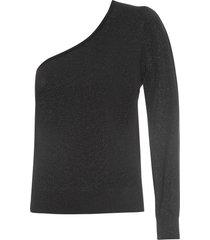 blusa feminina ombro único - preto