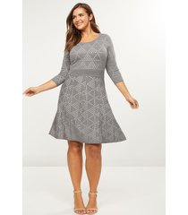 lane bryant women's dotted triangle fit & flare sweater dress 26/28 heather grey & ivory