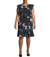 plus royal vines printed sheath dress