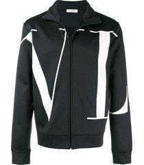 valentino logo print full-zip sweatshirt - black