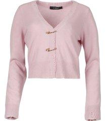 pin embellished cashmere cardigan pink