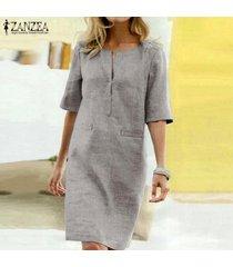 zanzea verano de las mujeres de manga corta con cuello en v vestido de las señoras de midi sueltos vestidos de la camiseta plus -gris