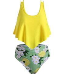floral lemon print flounce ruched plus size tankini swimsuit