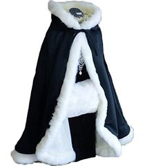 dark navy short women fur winter warm hood cape shawl wedding cloak christmas pa