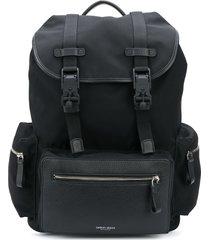 giorgio armani double-clip cargo backpack - black