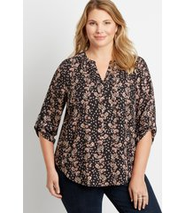 maurices plus size womens black floral v neck popover blouse