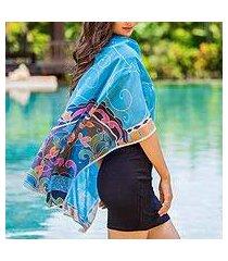 cotton batik shawl, 'terrace garden' (thailand)