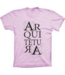 camiseta lu geek manga curta arquitetura rosa