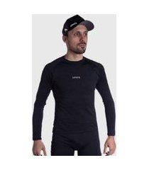 camisa segunda pele esportiva ciclismo preta manga longa damatta