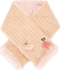 familiar embroidered ballerina detail contrast scarf - pink