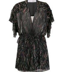 iro printed lurex mini dress - black