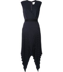 dion lee tailored pleat dress - black
