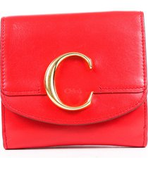 chloe red leather c trifold wallet red/logo sz: