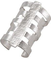 silver geo cuff bracelet, women's, josie natori