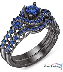 10k black gold finish pure 925 silver blue sapphire engagement bridal ring set