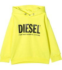 yellow sweatshirt with hood and black frontal logo