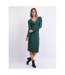 vestido feminino midi manga longa bufante verde escuro