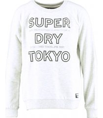 superdry lichtgrijze relaxed fit sweater met strass