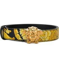 versace hibiscus print palazzo belt - yellow