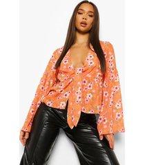 bloemenpatroon blouse, orange