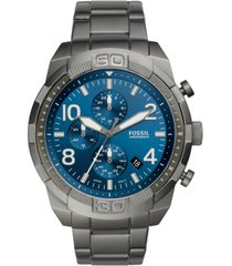 fossil men's chronograph bronson smoke gray stainless steel bracelet watch 50mm