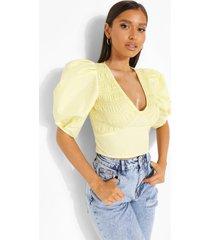 geweven blouse met pofmouwen, yellow