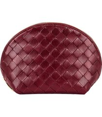 red leather woven cosmetic pouch