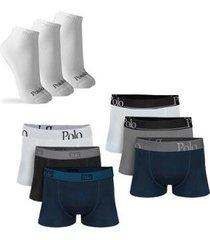 kit com 6 cuecas cotton premium e 3 pares de meias cano curto - polo match masculino - masculino