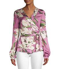 orchid print wrap blouse