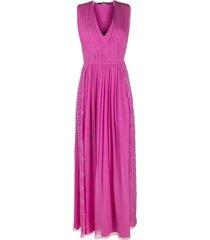 alberta ferretti long dress in fuchsia silk chiffon