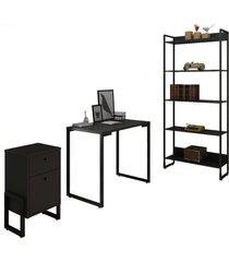 conjunto escritã³rio 3 peã§as mesa 90cm estante 5 prateleiras e gaveteiro 2 gavetas new port f02 preto - mpozenato - unico - dafiti