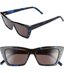 women's saint laurent 53mm cat eye sunglasses - black blue havana/ black