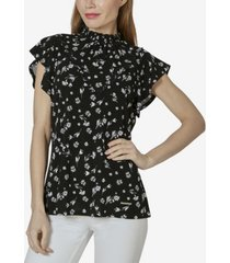 women's short flounce sleeve top with smocked neck