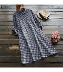 zanzea mujeres plus tamaño de los botones de la túnica de arriba hacia abajo de la blusa a cuadros compruebe camisa de vestir -azul