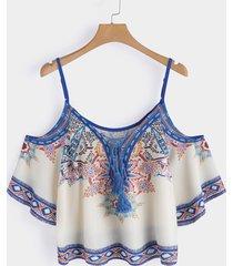blusa de diseño con cordones y espagueti con estampado floral