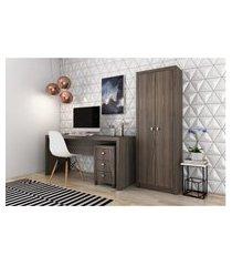 conjunto home office cb06 com escrivaninha armário alto e gaveteiro 3 gavetas carvalho casa da mobília
