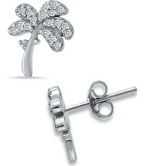 giani bernini cubic zirconia palm tree stud earrings in sterling silver, created for macy's